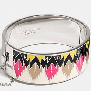 COACH Enamel Hawk Feather Hinged Bracelet
